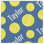 Tennis balls blue name sports pattern fabric