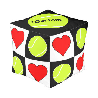 Tennis Balls & Hearts Square Checkered Pouf