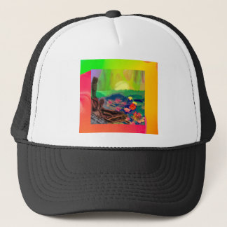 Tennis balls showed up among lilies on the pond. trucker hat