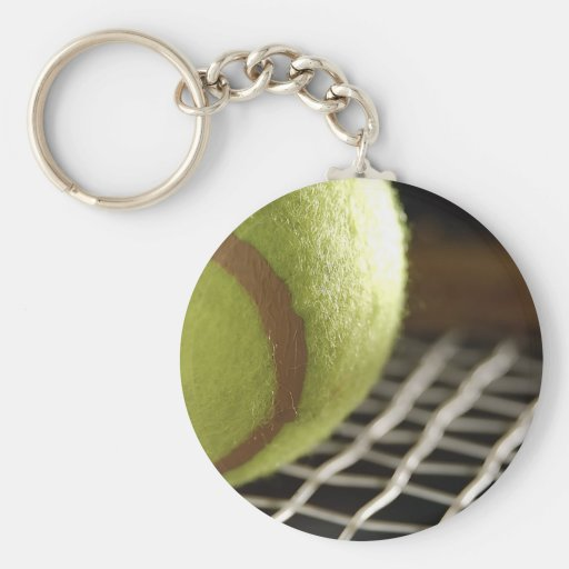 Tennis Basic Round Button Keychain