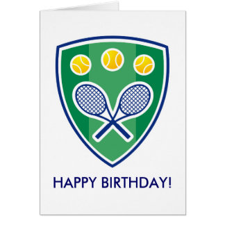 Tennis Birthday card with racket badge