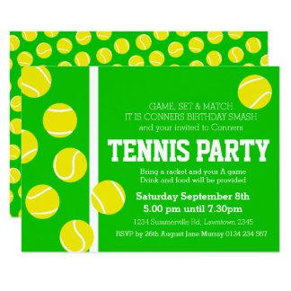 Tennis birthday party invite green, yellow & white
