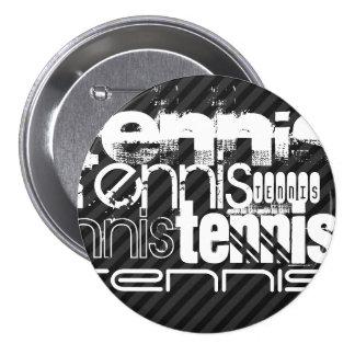 Tennis; Black & Dark Gray Stripes 3 Inch Round Button