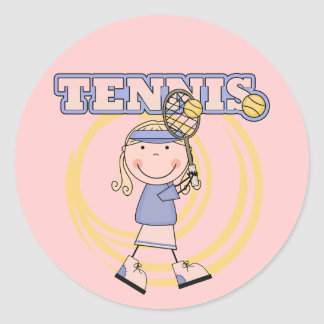 TENNIS - Blond Girl Tshirts and Gifts Classic Round Sticker