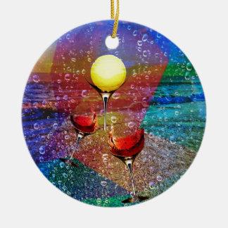 Tennis celebrates in full color round ceramic ornament