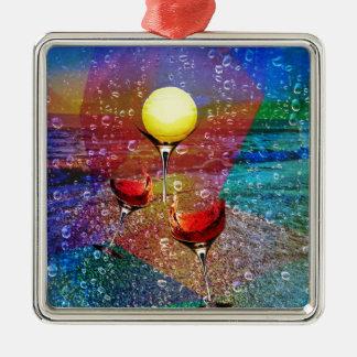 Tennis celebrates in full color Silver-Colored square ornament