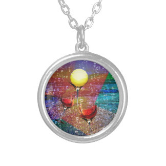 Tennis celebrates in full color silver plated necklace