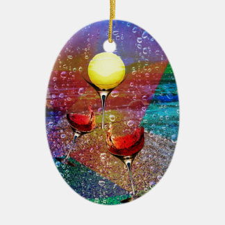 Tennis celebrates in full colour ceramic oval ornament