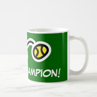 Tennis champion mug for players and fans.