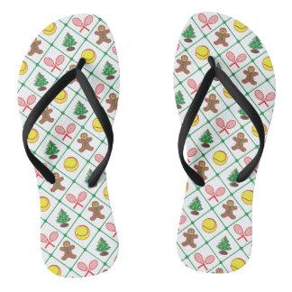 Tennis Christmas pattern Flip Flops