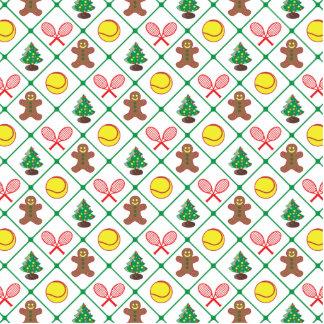 Tennis Christmas pattern Standing Photo Sculpture