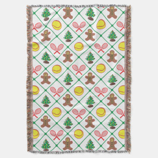 Tennis Christmas pattern Throw Blanket