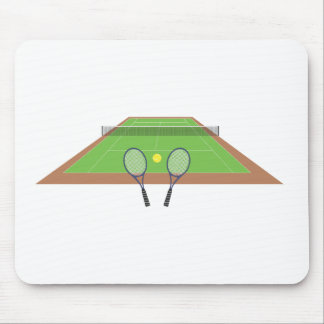 Tennis Court and Racket Mouse Pad