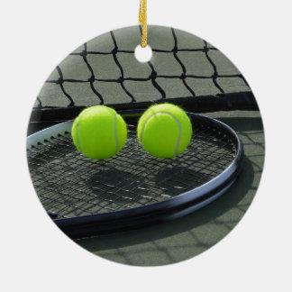 Tennis Court Racquet & Tennis Balls Ceramic Ornament