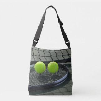 Tennis Court Racquet & Tennis Balls Crossbody Bag