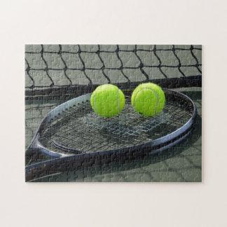 Tennis Court Racquet & Tennis Balls Jigsaw Puzzle