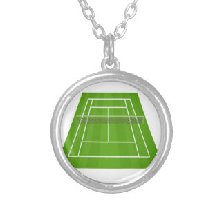 Tennis Court Silver Plated Necklace