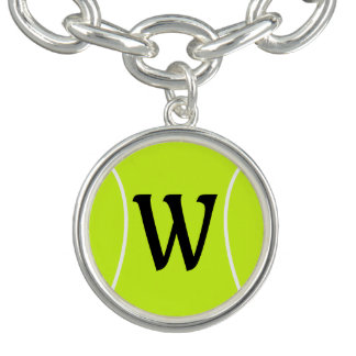 Tennis Custom Text Initial Silver Charm Bracelet