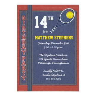 "Tennis Denim Bricks Rustic Sports Birthday Party 5"" X 7"" Invitation Card"