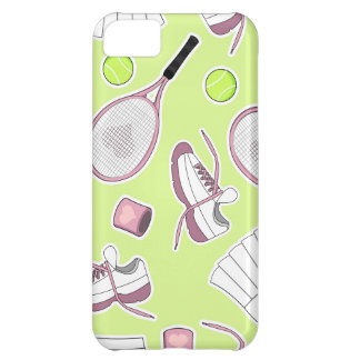 Tennis Girl Pattern Green Background Cover For iPhone 5C
