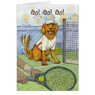 Tennis Golden Retriever - Good Luck Card