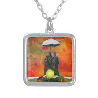 Tennis in a fountain silver plated necklace