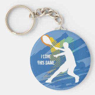 Tennis Keychain: I love this game Basic Round Button Keychain