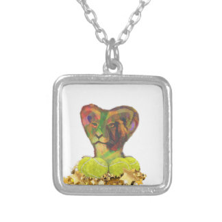 Tennis, Lion and the Stars Silver Plated Necklace