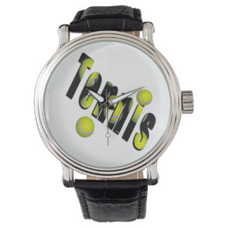 Tennis Logo And Balls, Mens Big Face Leather Watch