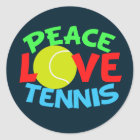 Tennis Love Blue Christmas Classic Round Sticker