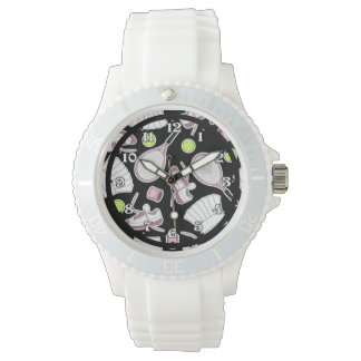 Tennis Love Pattern Pink and Black Watch