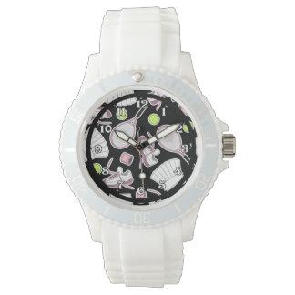 Tennis Love Pattern Pink and Black Wristwatch