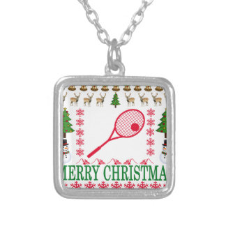 TENNIS MERRY CHRISTMAS . SILVER PLATED NECKLACE