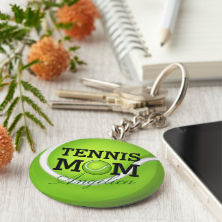 Tennis Mom Personalized Name Keychain