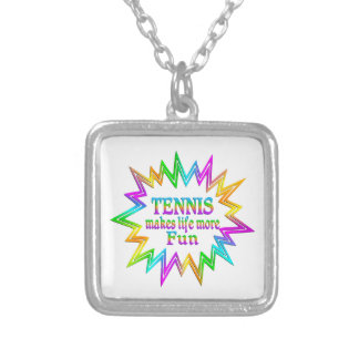 Tennis More Fun Silver Plated Necklace
