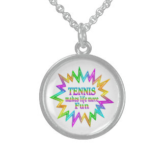 Tennis More Fun Sterling Silver Necklace