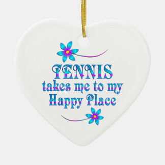 Tennis My Happy Place Ceramic Ornament