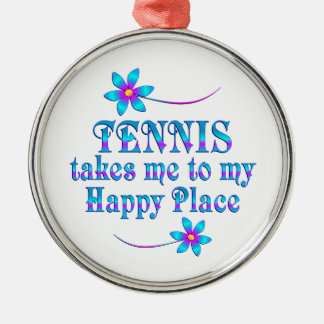 Tennis My Happy Place Metal Ornament