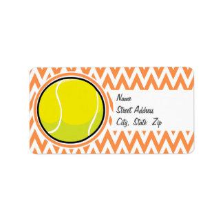 Tennis; Orange and White Chevron Label