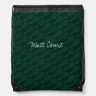 tennis pattern-design personalized drawstring bag