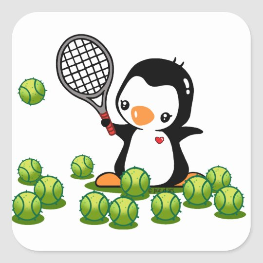 Tennis Penguin Square Sticker