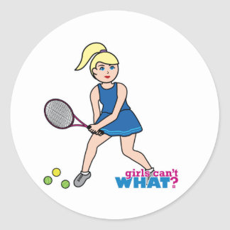 Tennis Player Girl - Light/Blonde Round Sticker