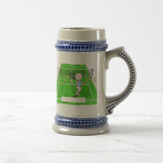 Tennis Player, Male - Personalized Cartoon Beer Stein