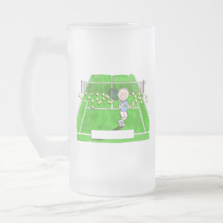 Tennis Player, Male - Personalized Cartoon Frosted Glass Beer Mug