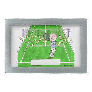 Tennis Player, Male - Personalized Cartoon Rectangular Belt Buckle