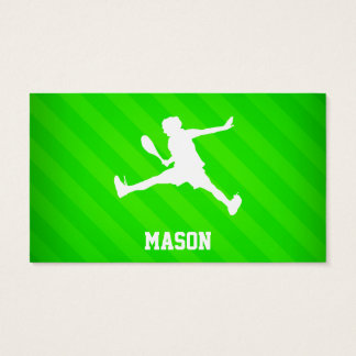 Tennis Player; Neon Green Stripes Business Card
