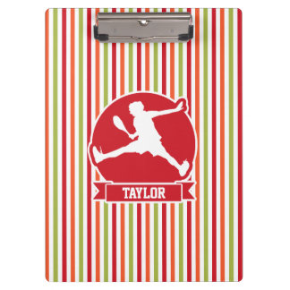 Tennis Player; Red, Orange, Green, White Stripes Clipboards
