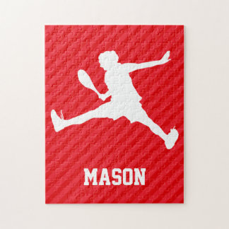Tennis Player; Scarlet Red Stripes Puzzles