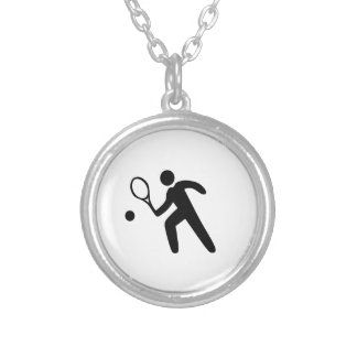 Tennis Player Silhouette Silver Plated Necklace
