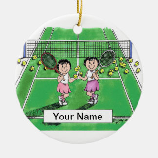 Tennis Players - Female & Female Ceramic Ornament